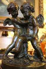 Deux amours se disputant un coeur, bronze d'Après Falconet-3