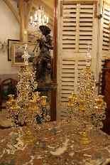 Pair of girandoles bronze and crystal nineteenth century-0
