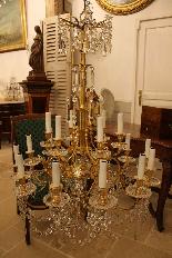 Lustre en bronze et Cristal de Baccarat à 18 lumières, XIXè-2