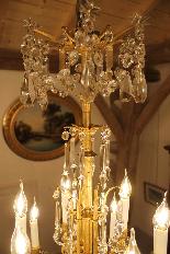 Lustre en bronze et Cristal de Baccarat à 18 lumières, XIXè-9