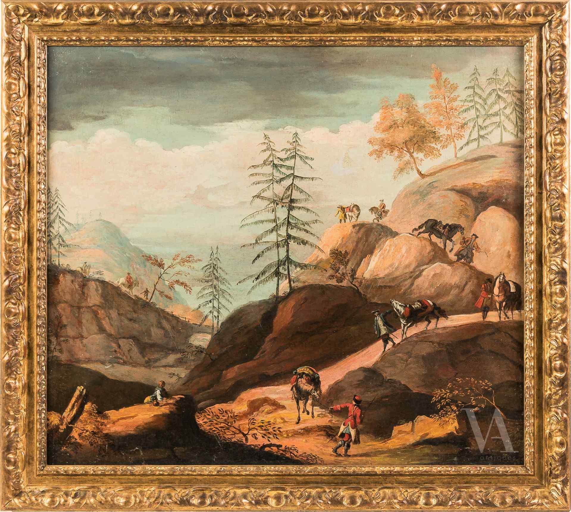 Attribuée à Antonio Diziani, Paysage rocheux avec des chiffr