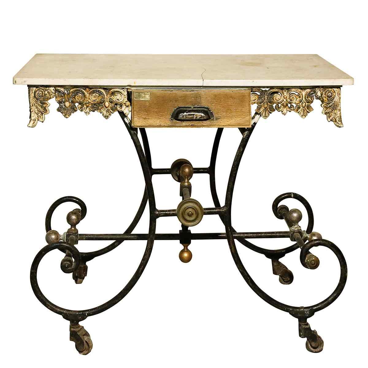 Tavolino Antico in ferro e Ghisa del XIX secolo