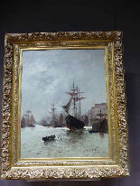Морская живопись подписана A - Nolet XIX-7