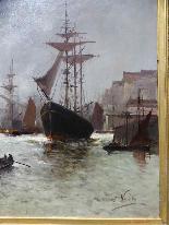 Морская живопись подписана A - Nolet XIX-0
