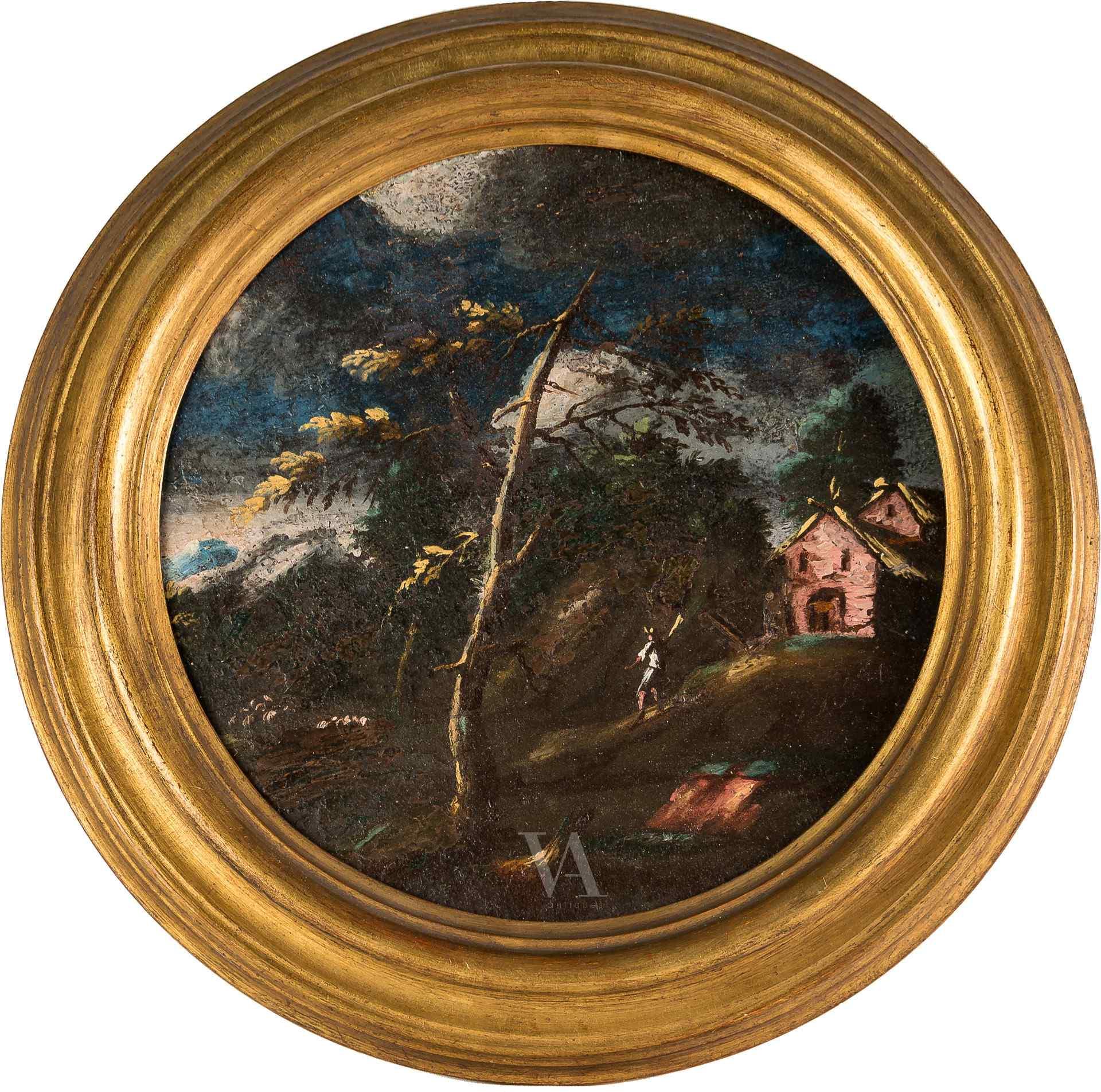 Giuseppe Zola attribuito, Paesaggio agreste con capanna