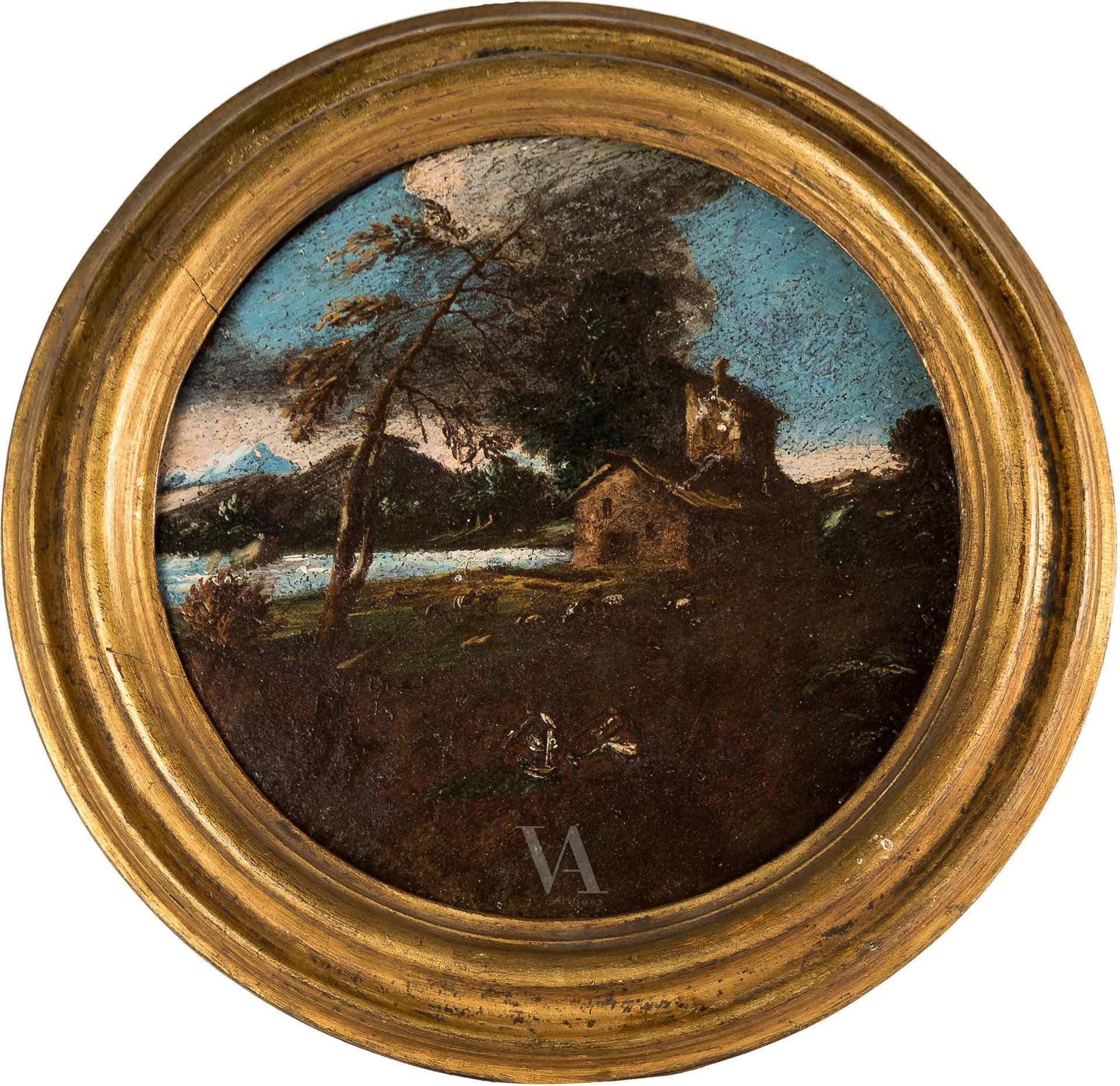 Giuseppe Zola attribué, Paysage rural avec chiffres