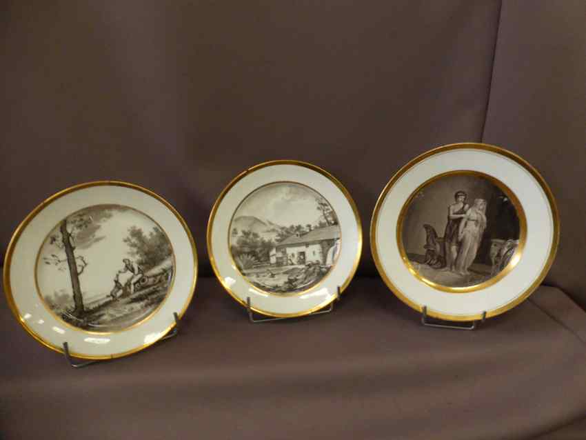 Suite Of 3 Plates End Nineteenth
