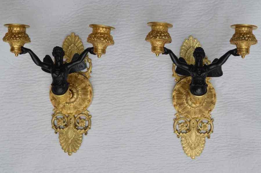 Paire d'Appliques En Bronze, Epoque Empire.