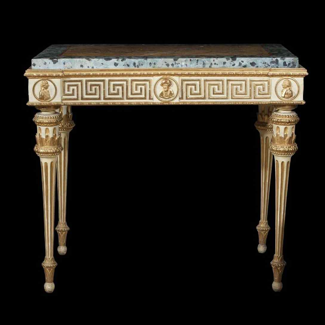 Antique neoclassical lacquered and gilded console