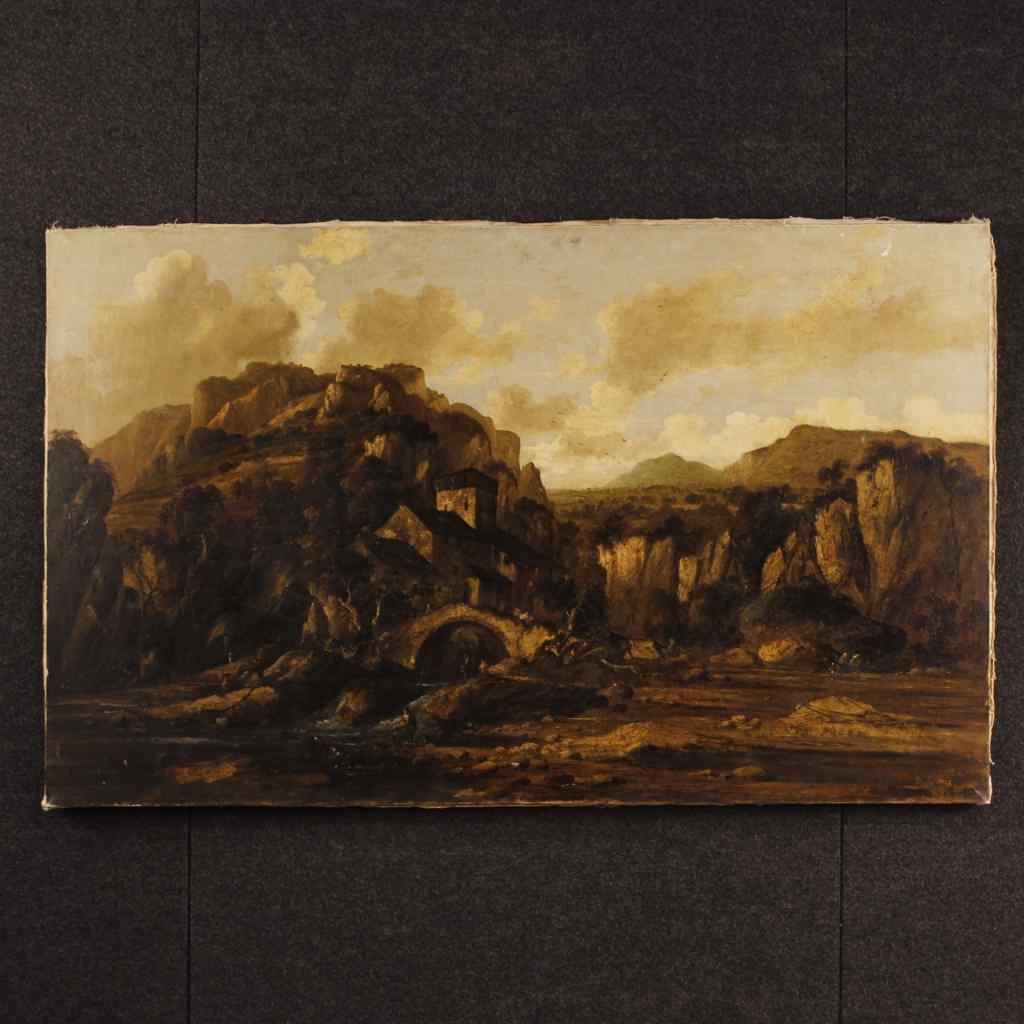 Tableau italien de paysage avec ruines et personnages
