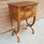 Antico Tavolino Comodino Impero in noce - XIX secolo-0