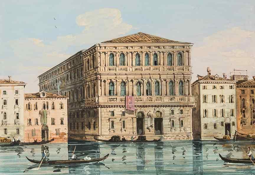 Carlo Grubacs, Veduta di Venezia, tempera 1830-1840