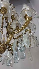 Lampadario antico in bronzo dorato 18 luci inizi Sec. XX-4