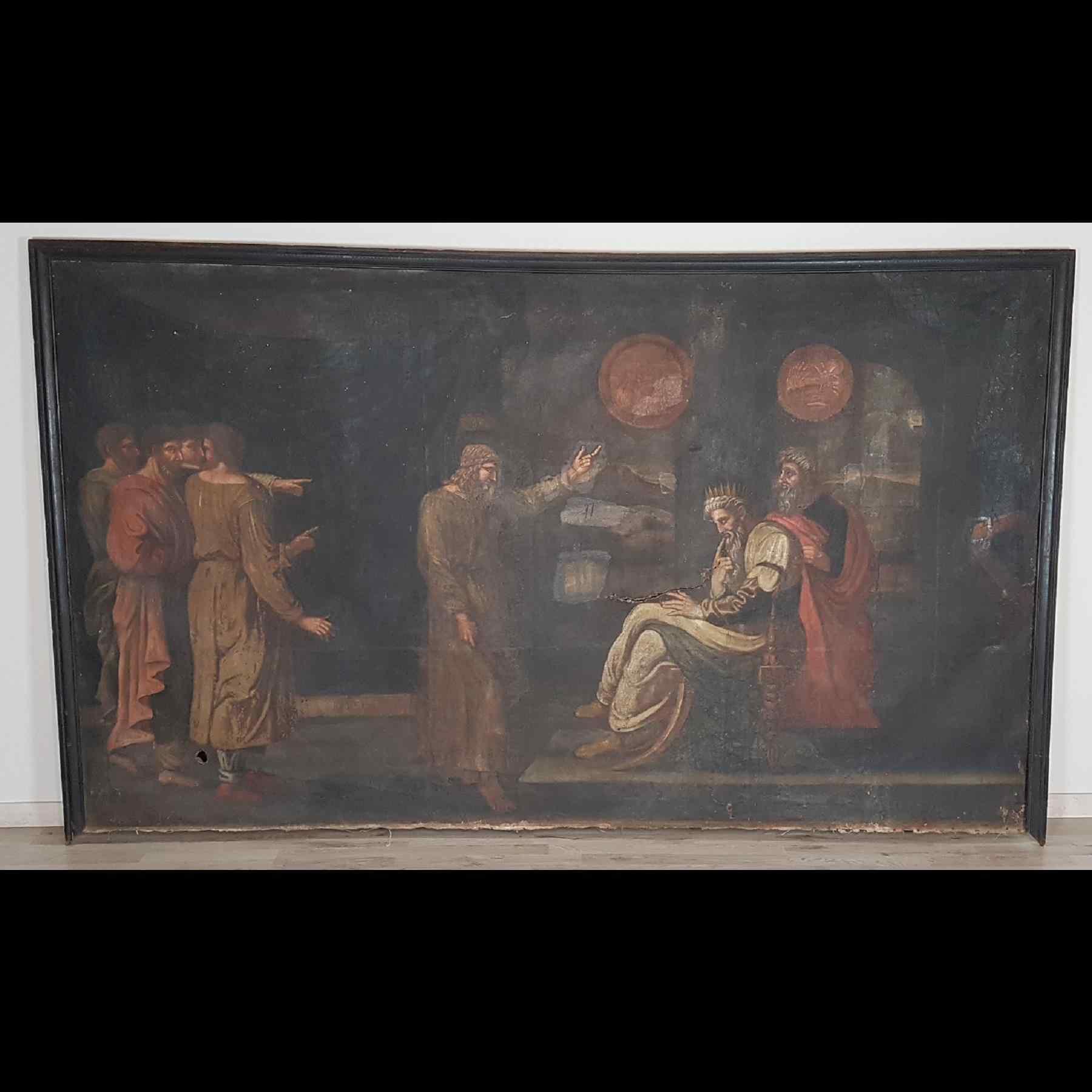 Grande dipinto antico cm 250 x 153 olio su tela Secolo XVII