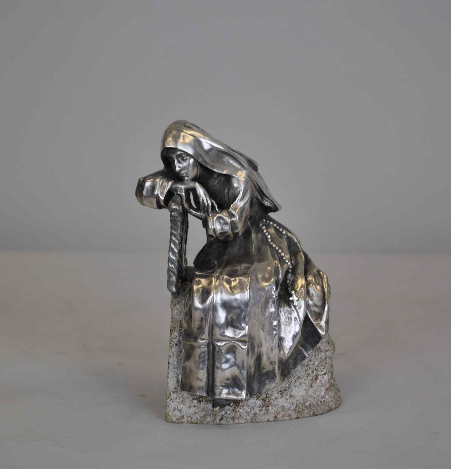 Religieuse pensive, Bronze argenté, P Canonica, début XXème