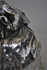 Religieuse pensive, Bronze argenté, P Canonica, début XXème-9