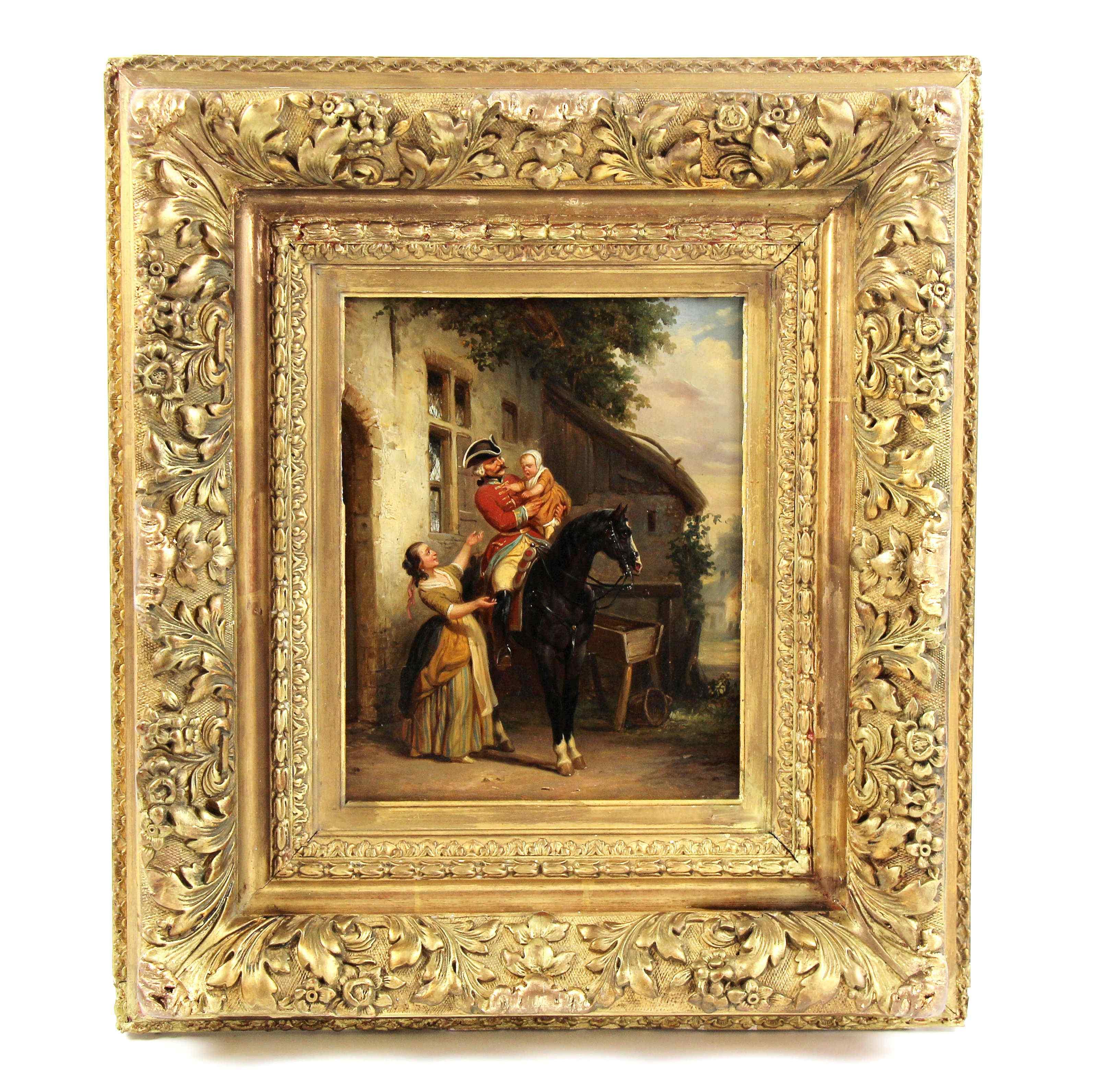 Olio su pannello di Henri Jozef DILLENS Scuola belga 19