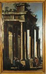 Antico dipinto di Francesco Battaglioli, capriccio-2