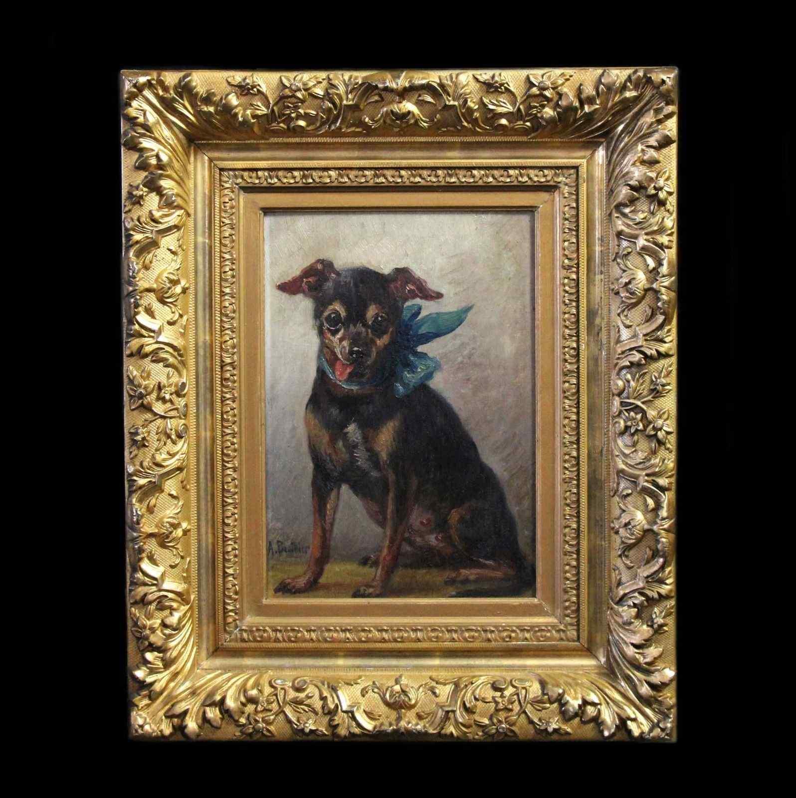 Olio sul ritratto del pannello di un cane di pincher, scuola