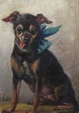 Olio sul ritratto del pannello di un cane di pincher, scuola-2