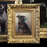 Olio sul ritratto del pannello di un cane di pincher, scuola-1