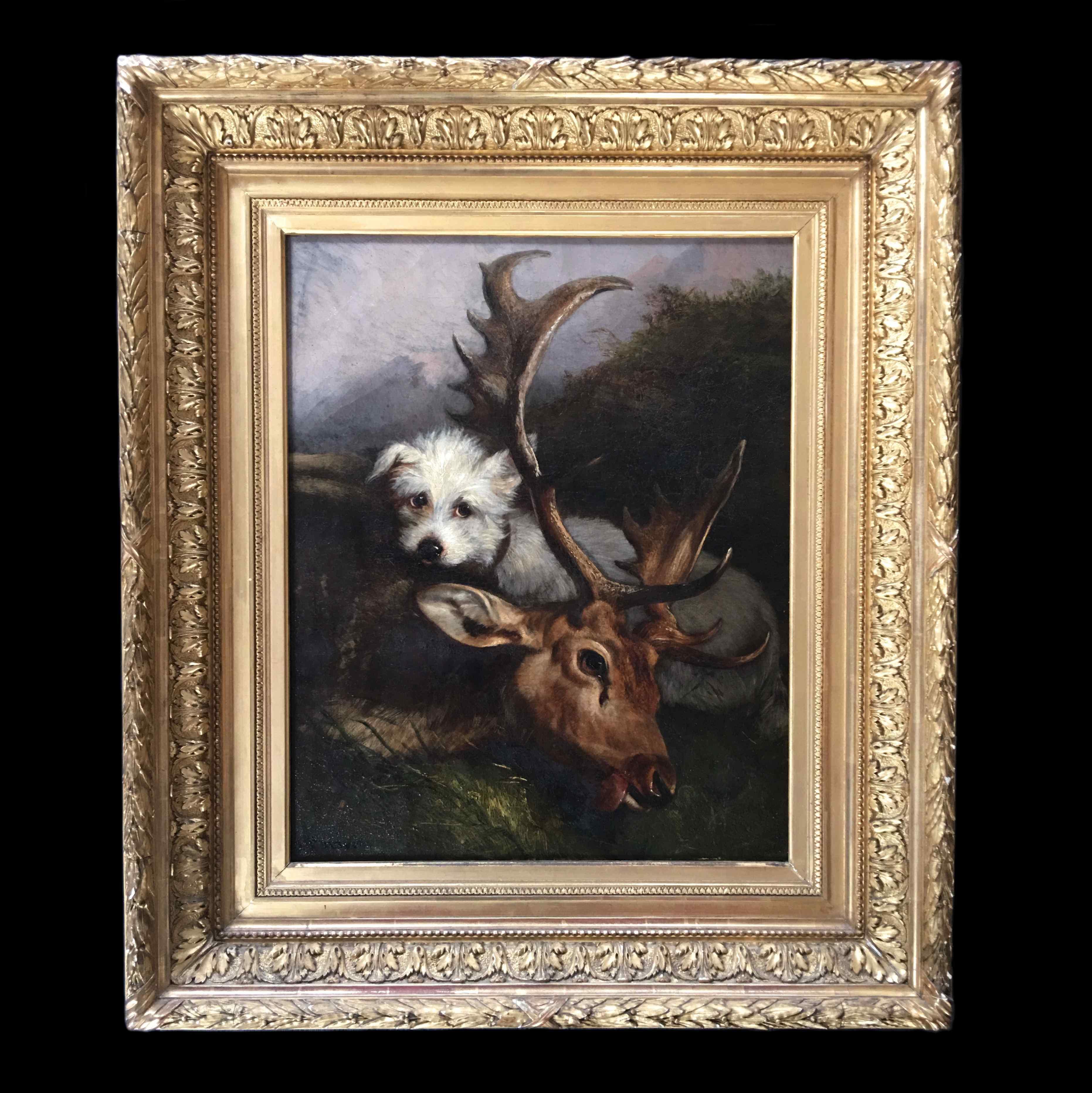 Olio su tela, scena di caccia cane scuola francese 19