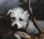 Oil on canvas ,hunting scene dog French school 19th-1