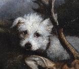 Olio su tela, scena di caccia cane scuola francese 19-2