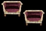 Coppia di antichi divanetti laccati-1