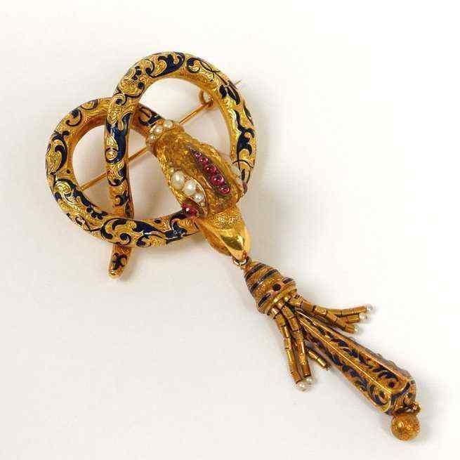 Spilla antica, serpente in oro 18Kt, Russia
