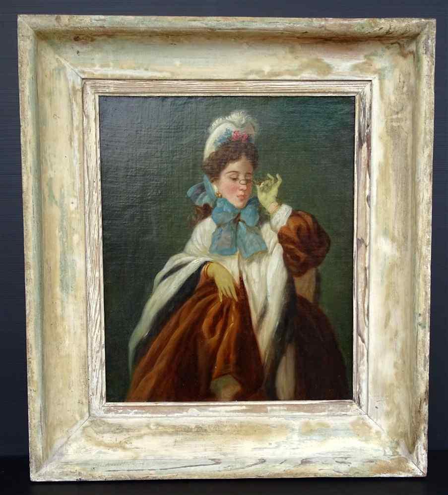 Charming Portrait Of An Elegant In 1900 French School