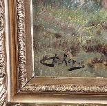 Huile antique sur toile , chiens de chasse Ecole francaise-1