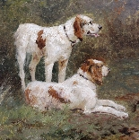 Antique oil on canvas ,hunting dogs French school 19th-4