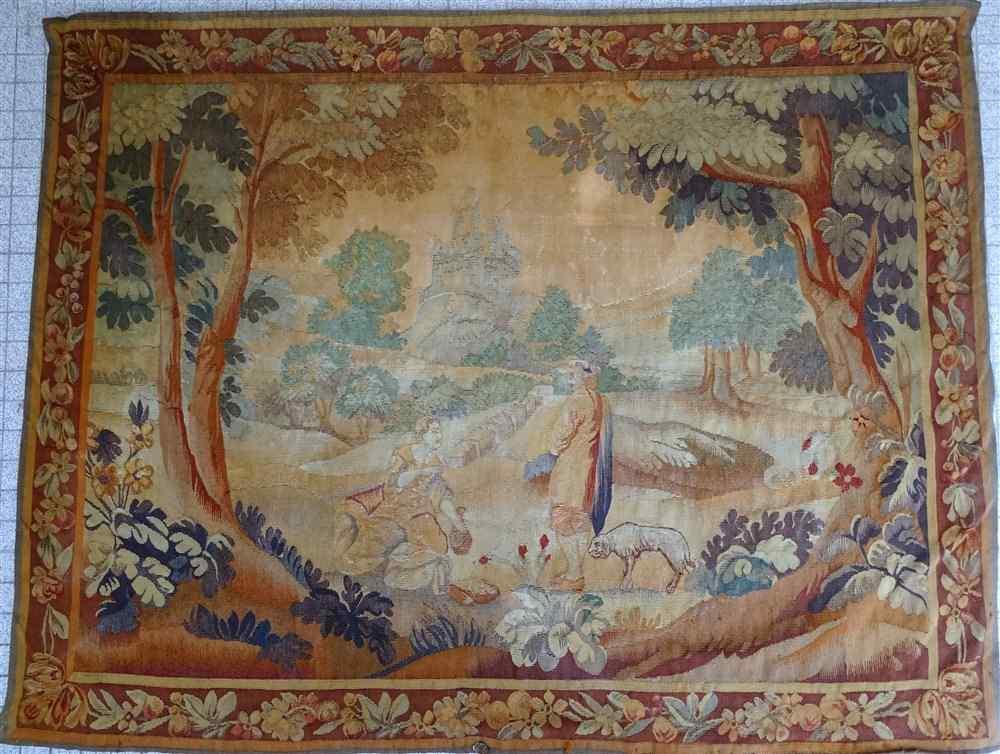 Tapisserie Aubusson XVIIIème siècle, Scène Galante dans la C