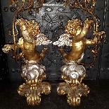 Antica Coppia Candelabri in legno dorato - Italia XX secolo-8