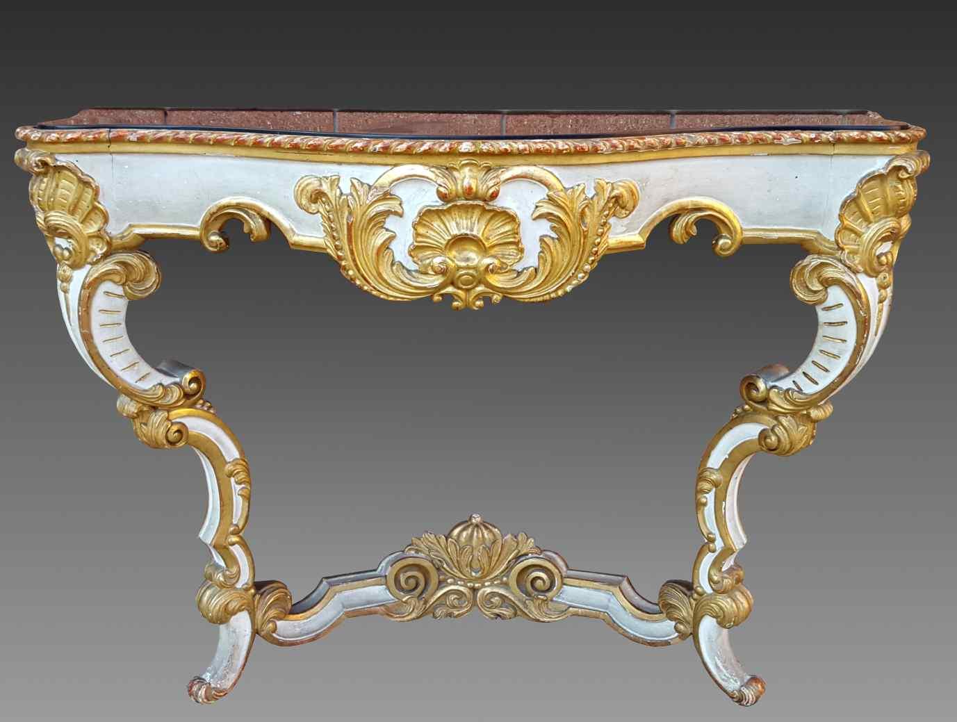 Ancien Console laqué et doré Louis Philippe - Italie 19ème