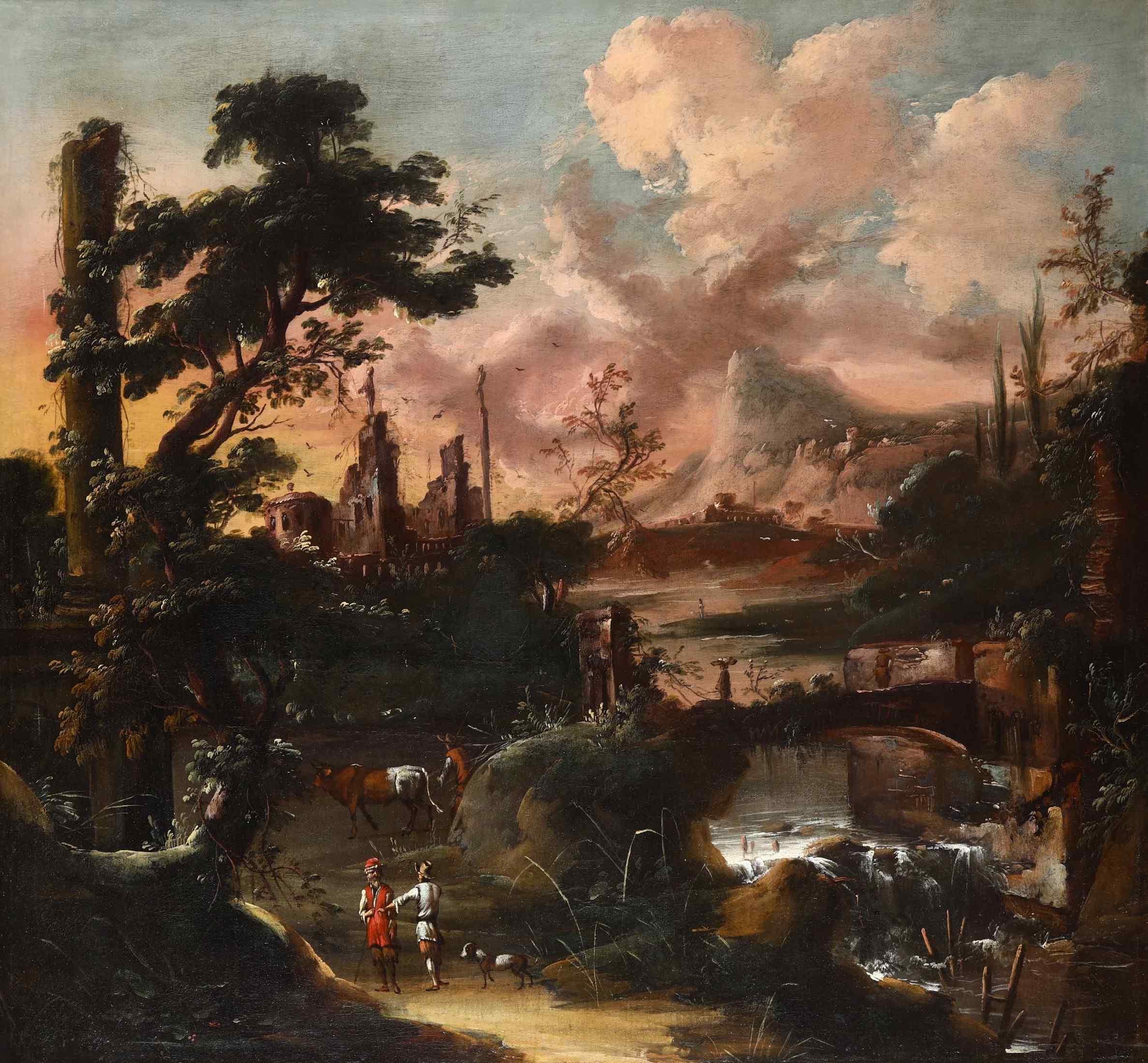 Ecole flamande du '600, paysage animé au coucher du soleil