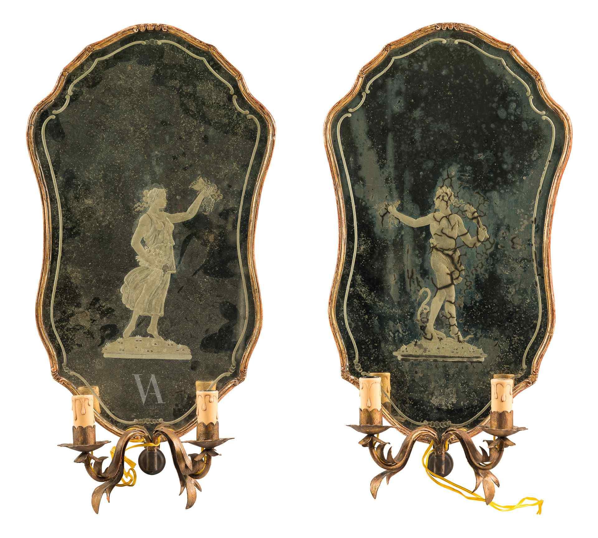 Coppia di specchierine con vetri incisi. Venezia XVIII sec.