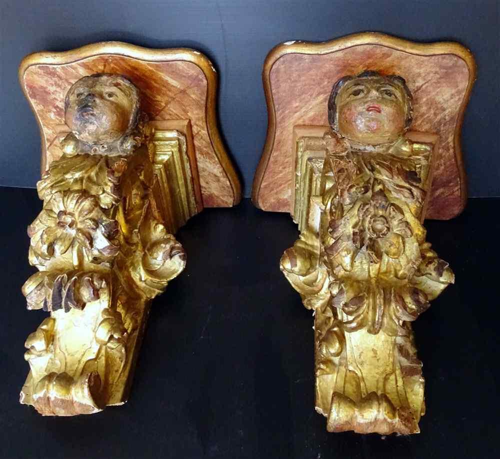 Coppia di consolle Baroques Putti in legno diciassettesimo p