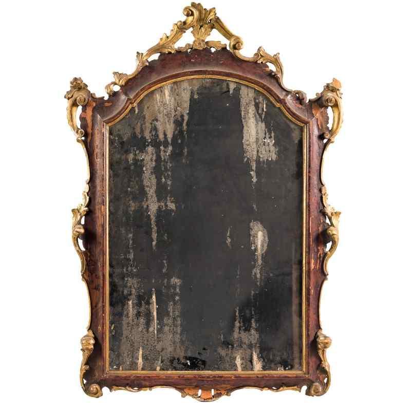 Miroir en bois de noyer sculpté. Venise, 18ème siècle