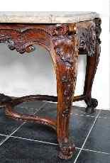 Tavolo centrale in legno intagliato del XIX secolo-5