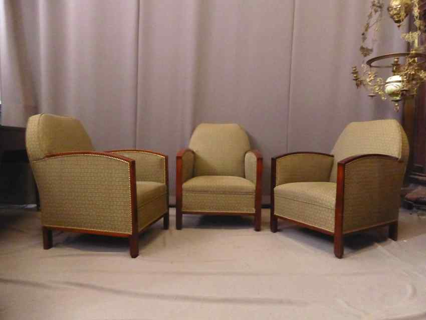 Set Of 3 Art Deco Armchairs
