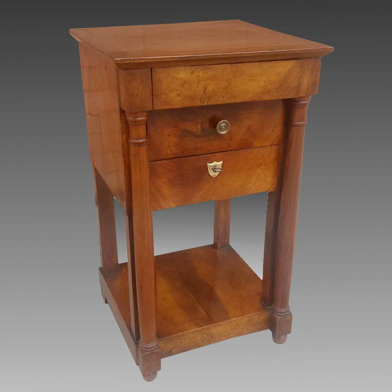Antique Empire small Table Bedside drawers in walnut - 19th