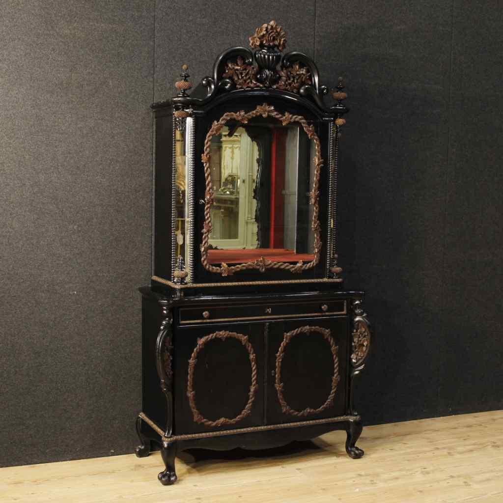 Credenza olandese in rovere e legno ebanizzato con specchi