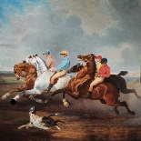 Antique oil on canvas ,racing scene dog French school 19th-1