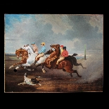 Antique oil on canvas ,racing scene dog French school 19th-4