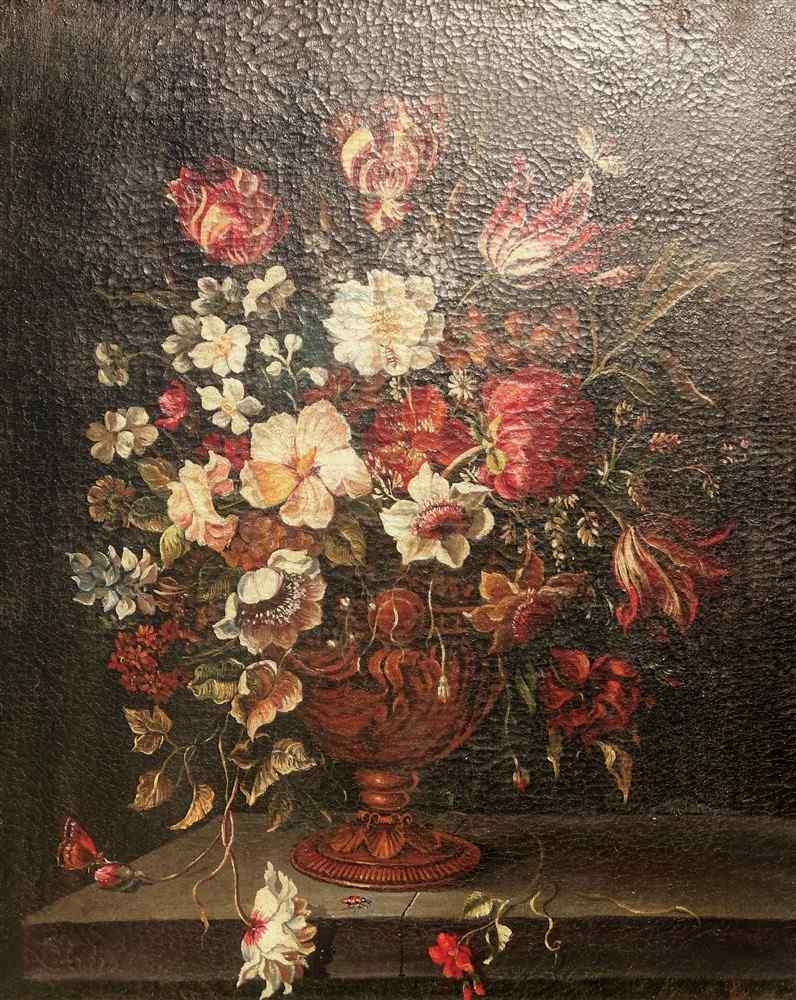 Ecole Anversoise XVIIème Bouquet de fleurs dans un vase