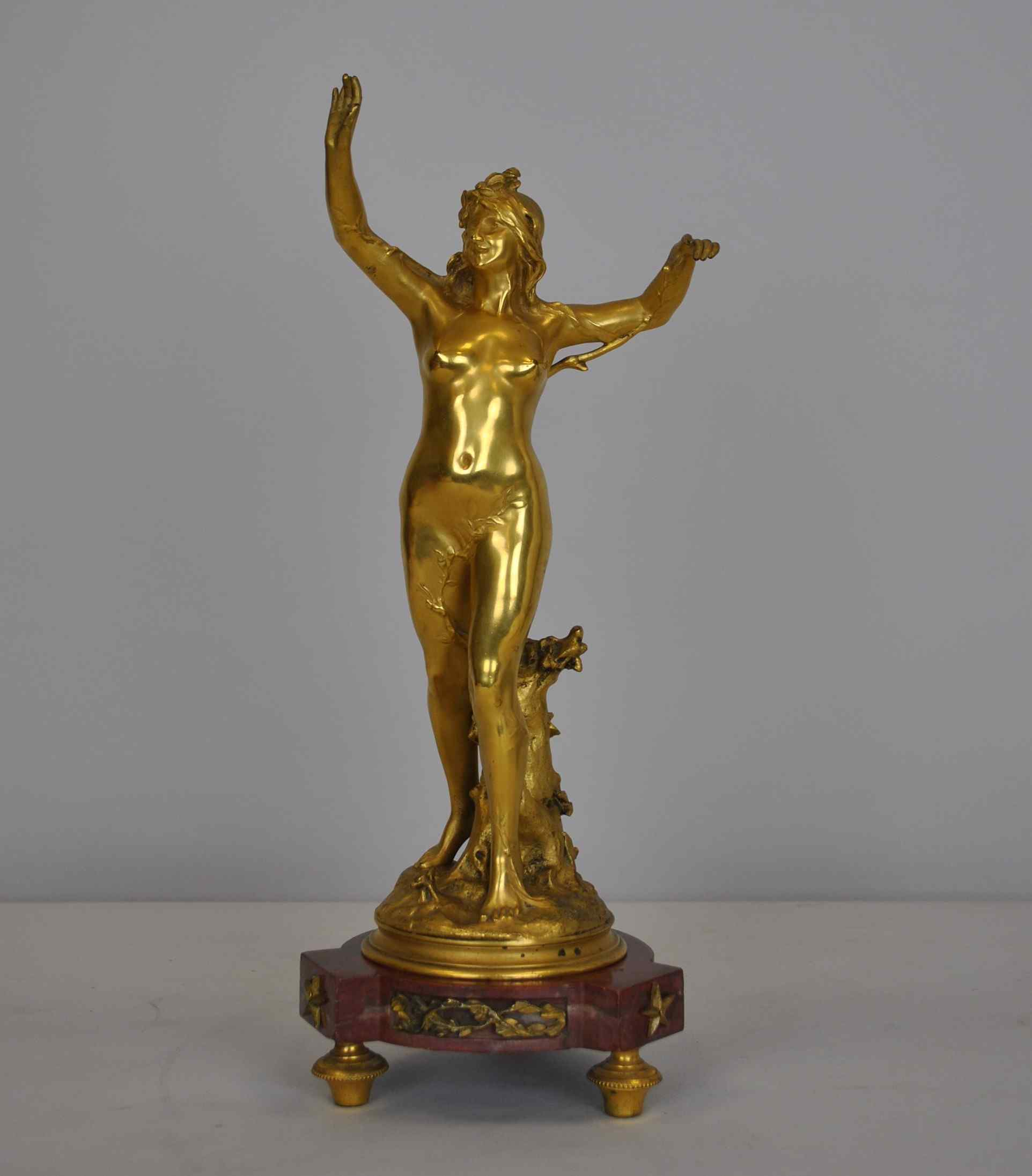 Raoul Larche, La linfa, firmata in bronzo dorato, XIX