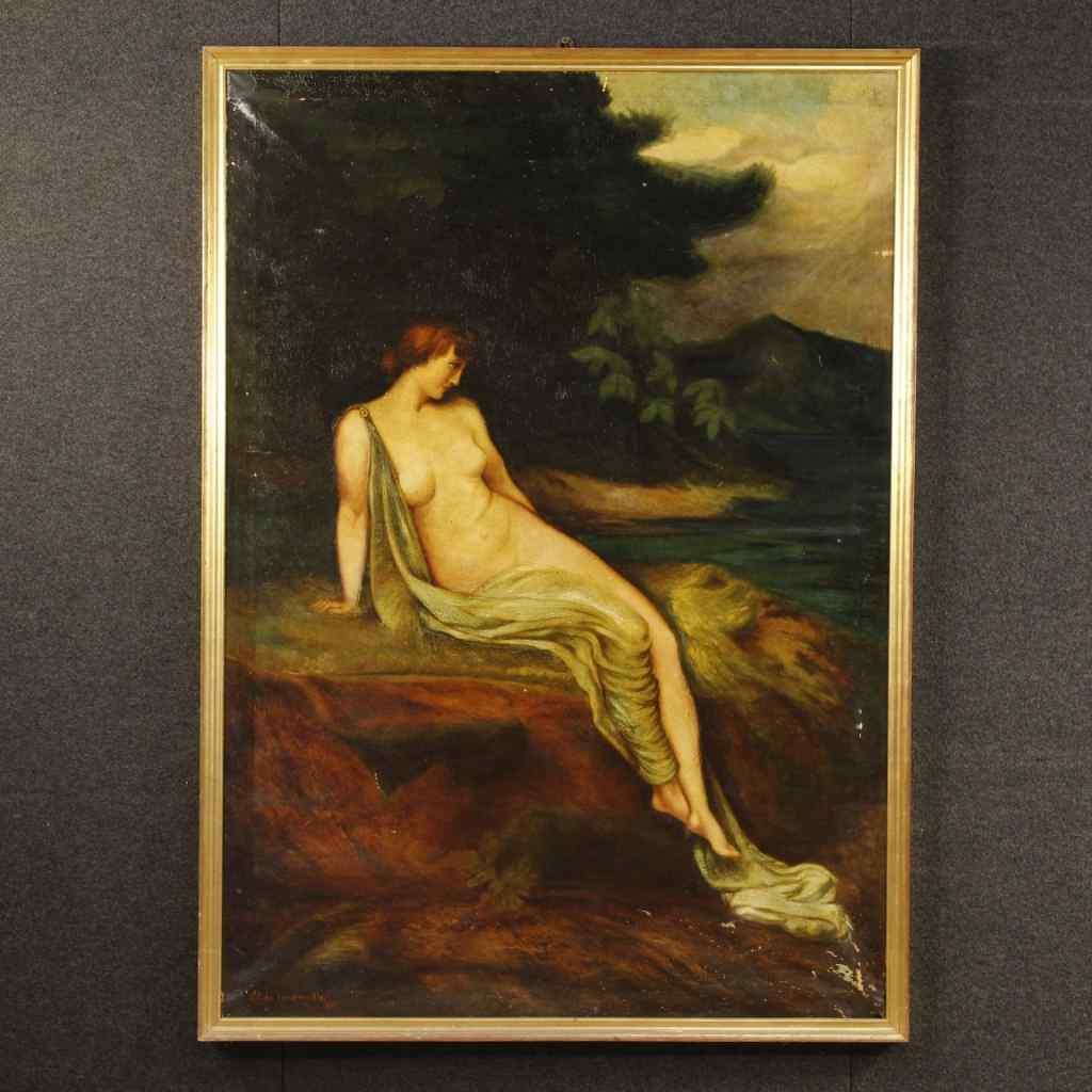 Tableau italien huile sur toile paysage avec nu féminin