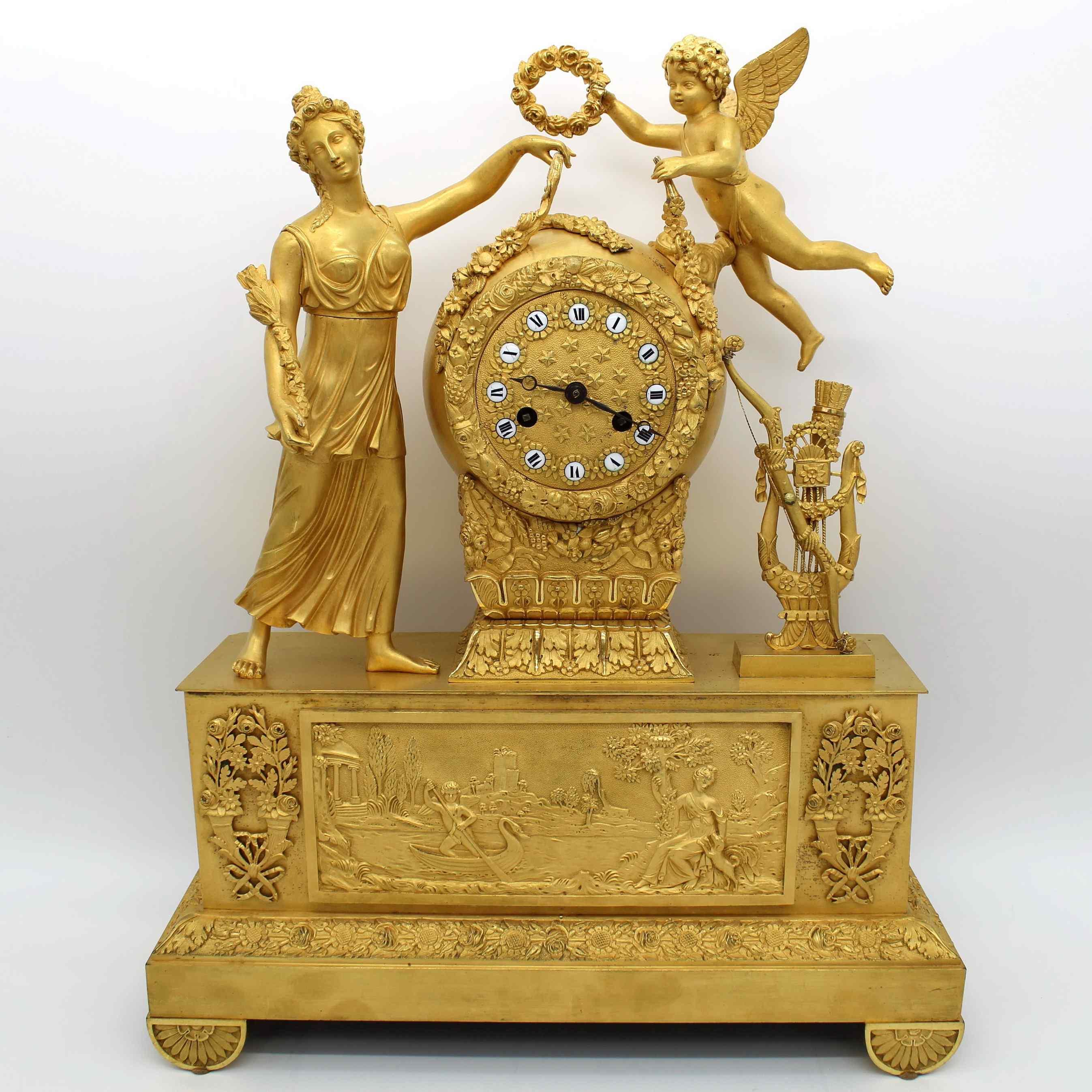 Antique Empire Pendulum Clock in bronze - 19th century